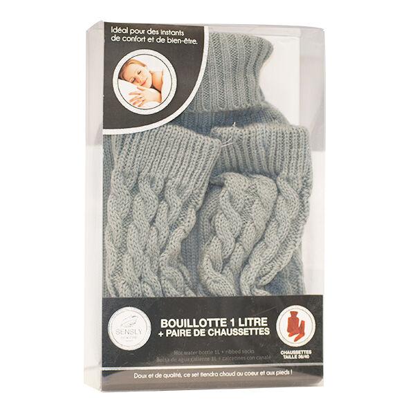 Bouillotte 1L + Paire de Chaussettes Gris 36/40