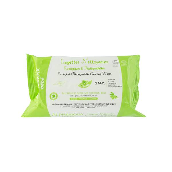 7507116 Alphanova Bébé Lingettes Huile Olive et Aloe Sans Parfum Biodégradable Bio 60 unités
