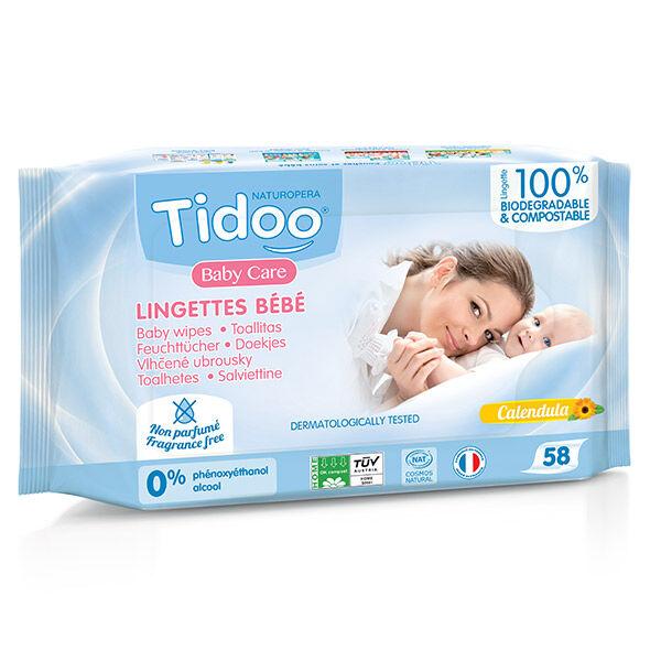 Tidoo Lingettes Bio Compostables au Calendula Sans Parfum 58 lingettes