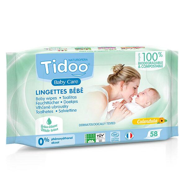 Tidoo Lingettes Compostables au Calendula Avec Parfum Naturel Bio 58 lingettes