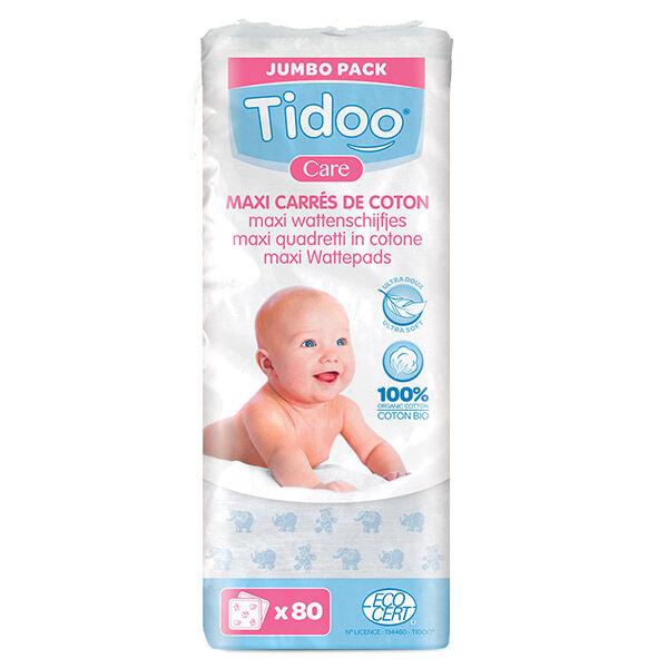 Tidoo Maxi-Carrés de Coton Bio Format Familial 80 cotons