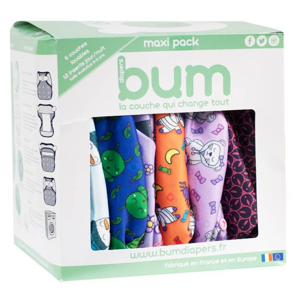 Bumdiapers Maxi Pack Girly 6 Couches Lavables + 12 Inserts Jour/Nuit 0-3 ans
