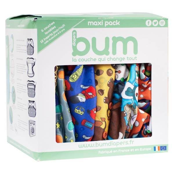 Bumdiapers Maxi Pack Boy 6 Couches Lavables + 12 Inserts Jour/Nuit 0-3 ans