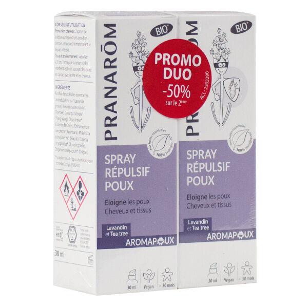 Pranarom Aromapoux Spray Bio Anti Poux Répulsif Lot de 2 x 30ml