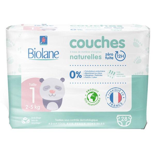 Biolane Couches Naturelles T1 (2-5 kg) 28 Couches
