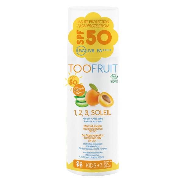 Toofruit 1,2,3 Soleil Lait Solaire Abricot Aloé Vera SPF50 Bio 100ml