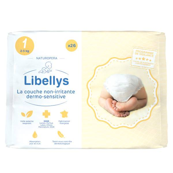 Libellys Couches Non-Irritantes Dermo-Sensitives T1 (2-5 kg) x 26