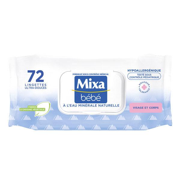 Mixa Bébé Lingettes Ultra-Douces au Lait de Toilette 72 unités