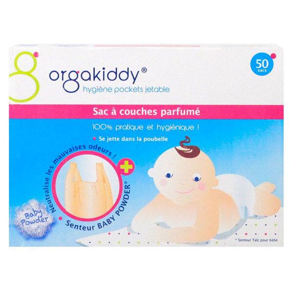 Orgakiddy Sac à Couches Parfumé Talc 50 unités