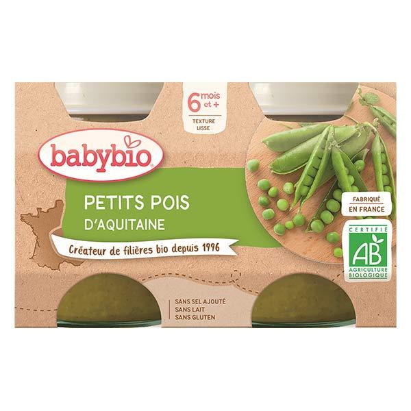 Babybio Mes Légumes Pot Petits Pois +6m Bio 2 x 130g