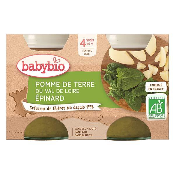 Babybio Mes Légumes Pot Pomme de Terre Epinards +4m Bio 2 x 130g