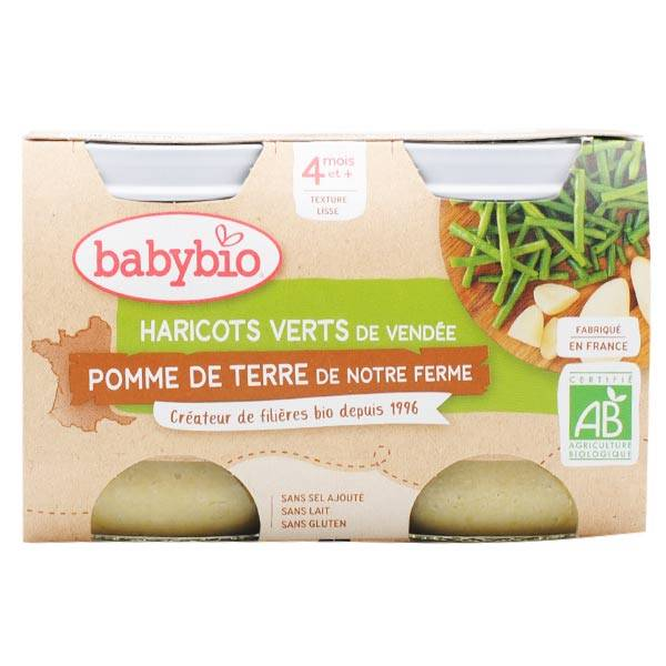 Babybio Mes Légumes Pot Pomme de Terre Haricots Verts +4m Bio 2 x 130g