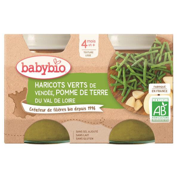 Babybio Mes Légumes Pots Pomme de Terre Haricots Verts dès 4 mois 2 x 130g