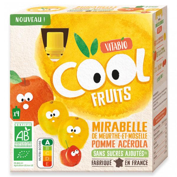Vitabio Cool Fruits Gourde Mirabelle Pomme Acérola Bio Lot de 4 x 90g