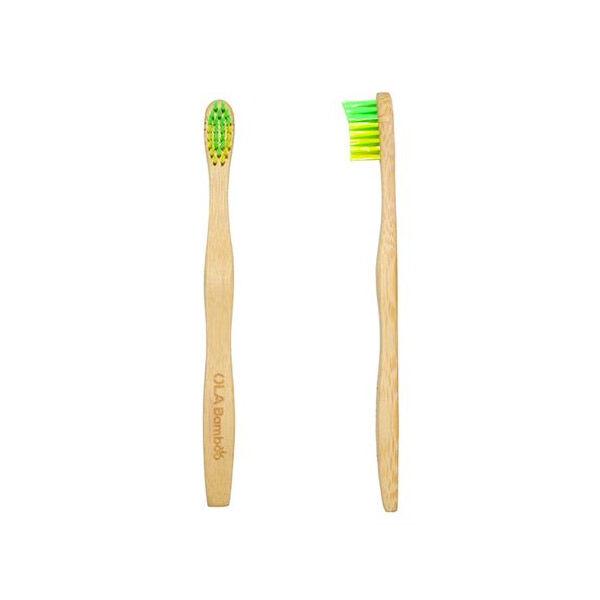 Ola Bamboo Brosse à Dents Enfant Souple Vert et Jaune