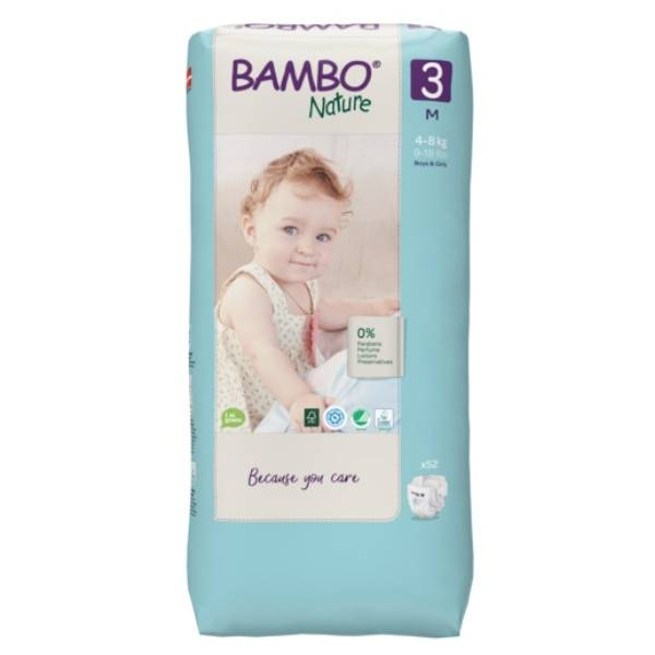 Bambo Nature Couche Taille 3 4-8kg Tall Pack 52 unités