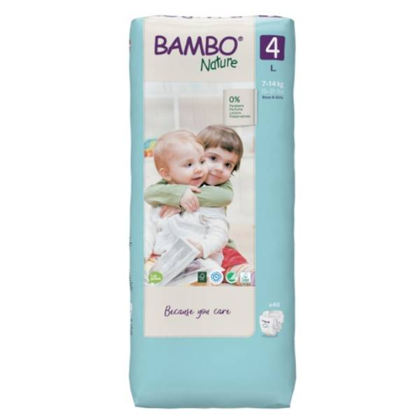 Bambo Nature Couche Taille 4 7-14kg Tall Pack 48 unités