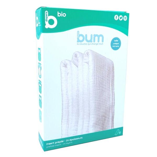 Bumdiapers Insert Jour/Nuit Pré-Plié 14 épaisseurs Coton Bio 0-3ans 1 unité
