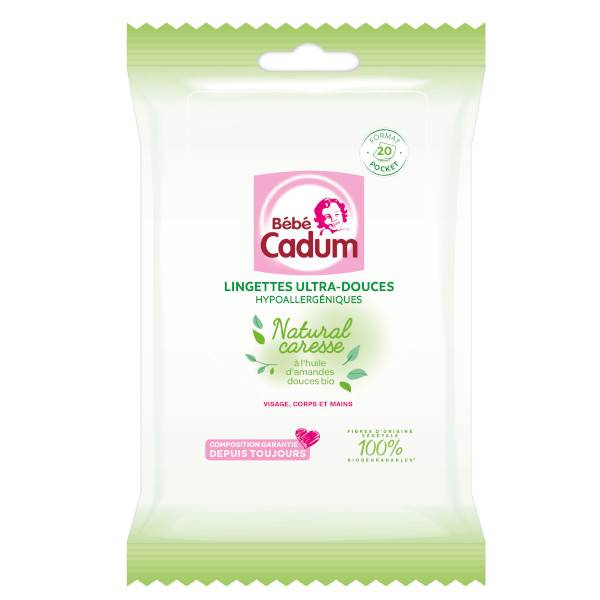Cadum Bébé Natural Caresse Lingettes Pocket Ultra-Douces 20 unités