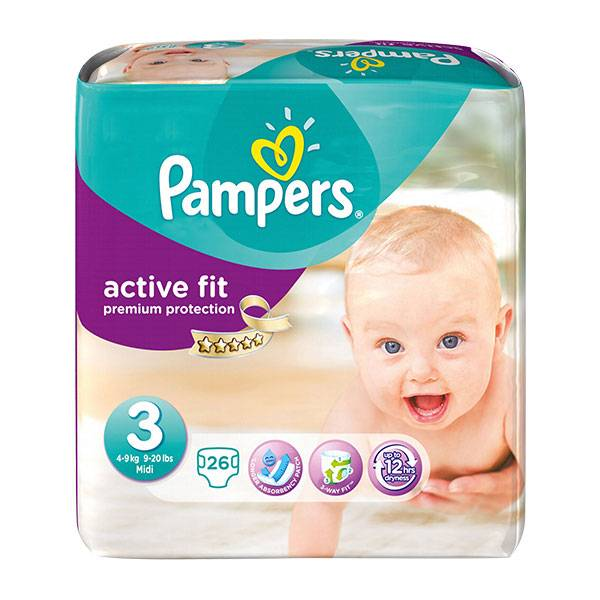 Pampers Active Fit T3 (4 - 9kg) 26 couches