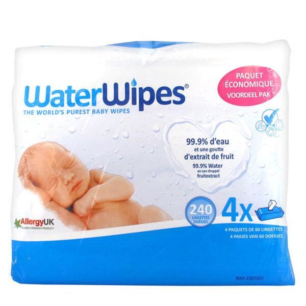 WaterWipes Lingettes Pures Lot de 4 x 60 lingettes
