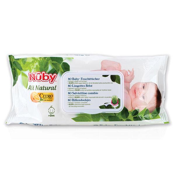 Nuby All Natural Lingettes Bébé +0 mois 80 Lingettes