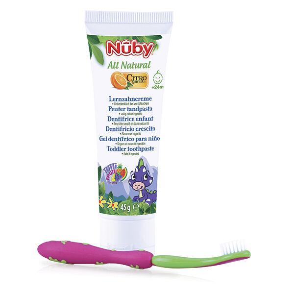 Nuby All Natural Dentifrice Enfant +24 mois 45g + Brosse à Dents Rose Verte