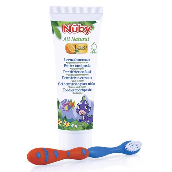 Nuby All Natural Dentifrice Enfant +24m 45g + Brosse à Dents Bleu et Rouge