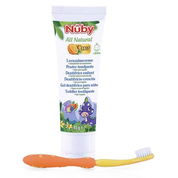 Nuby All Natural Dentifrice Enfant +24m 45g + Brosse à Dents Jaune et Orange