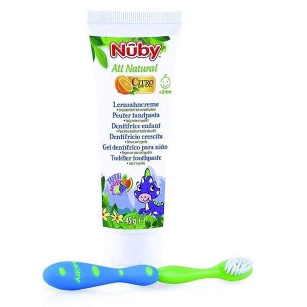 Nuby All Natural Dentifrice Enfant +24m 45g + Brosse à Dents Vert et Bleu