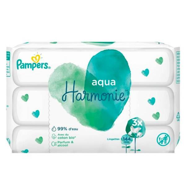 Pampers Lingettes Harmonie Aqua Lot de 3 x 48 unités