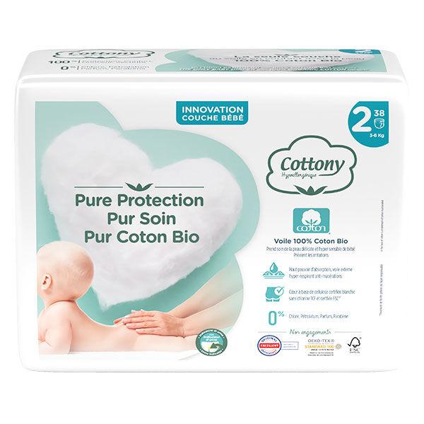 Cottony Couches Bébé 100% Coton T2 3-6kg 38 unités