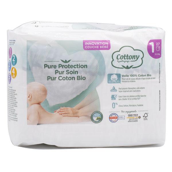 Cottony Couches Bébé 100% T1 2-5kg 27 unités