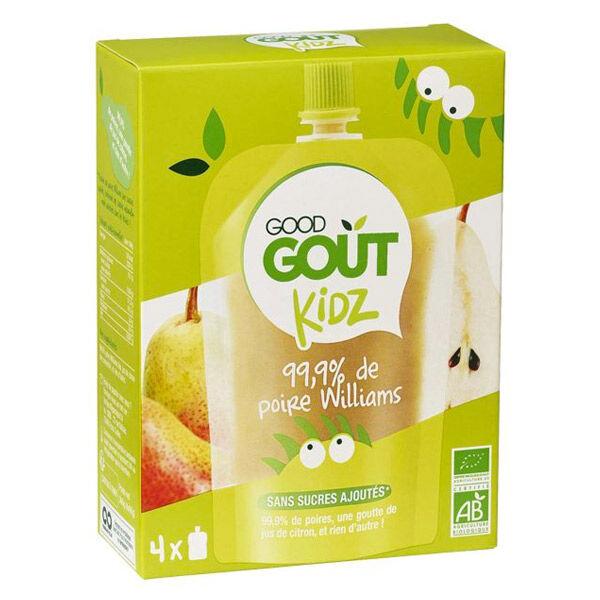 Good Goût Kidz Gourde Compote de Fruits Poire +3ans Bio 4 x 90g