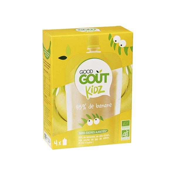 Good Goût Kidz Gourde de Fruit Banane Bio dès 3 ans 4 x 90g