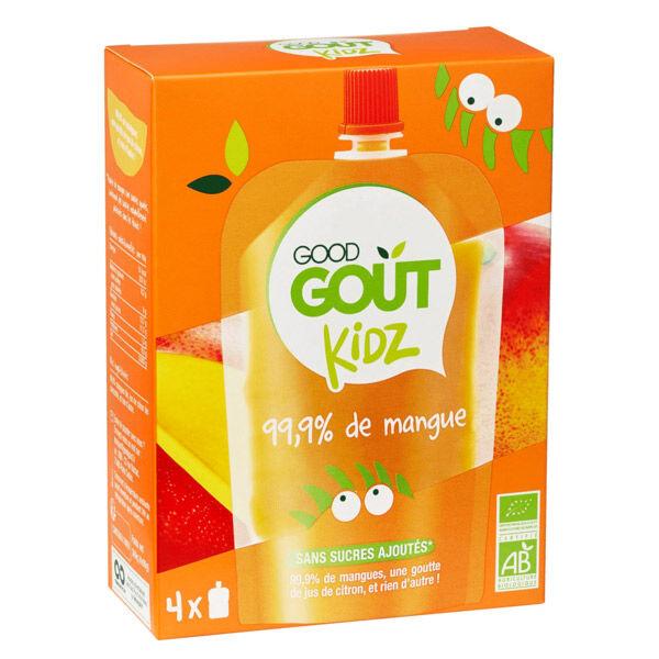Good Goût Kidz Gourde de Fruit Mangue Bio dès 3 ans 4 x 90g