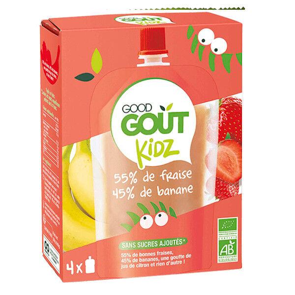 Good Goût Kidz Gourdes Fruits Fraise Banane Dès 3 ans Bio Pack de 4 360g