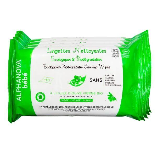 Alphanova Bébé Lingettes Huile Olive et Aloe Bio 4x60 unités
