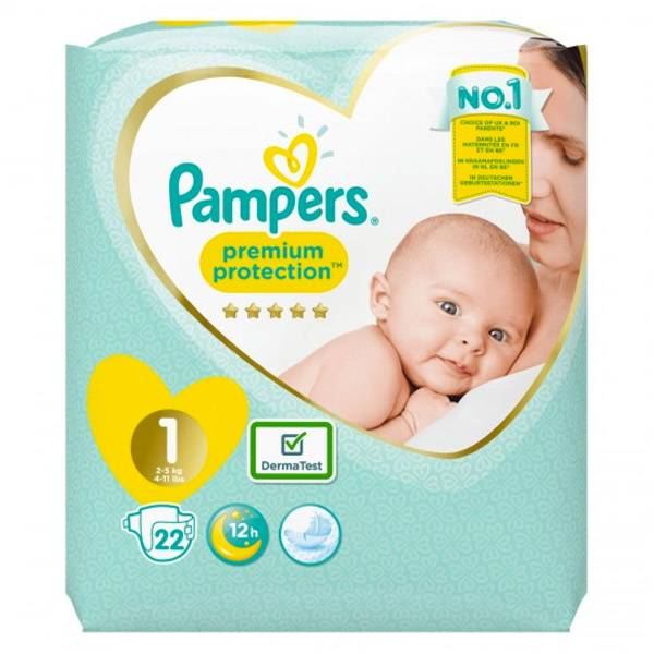 Pampers New Baby Premium Protection T1 2-5kg 22 Couches
