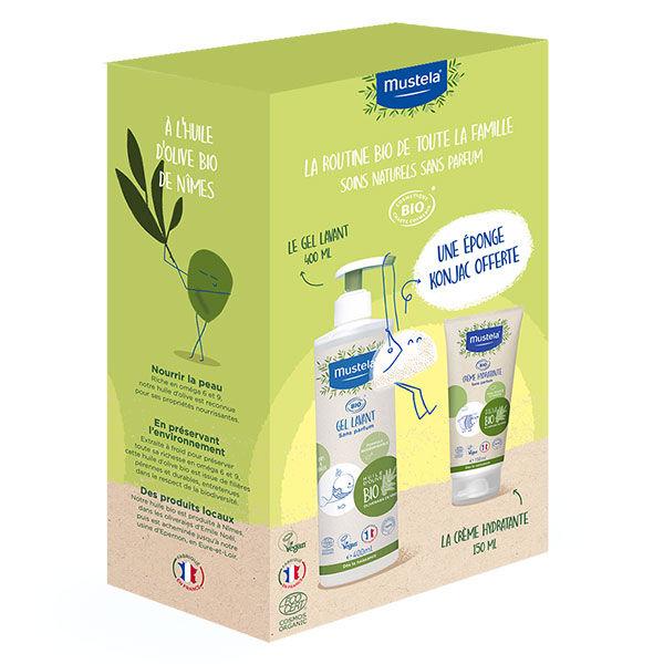 Mustela Coffret Bio Crème Bio 150ml + Gel Lavant Bio 400ml + Eponge Konjac Offerte