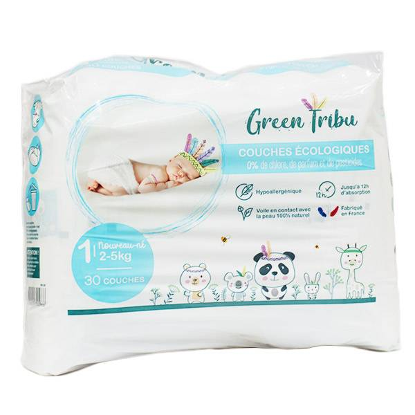 Green Tribu Couches Ecologiques Taille 1 2-5 kg 30 unités