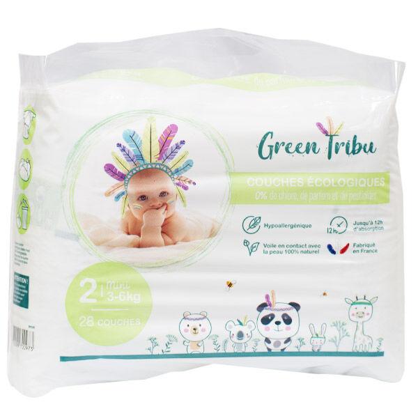 Green Tribu Couches Écologiques Taille 2 3-6 kg 28 Unités