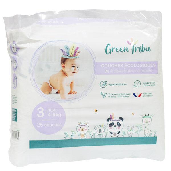 Green Tribu Couches Écologiques Taille 3 4-9 kg 26 Unités
