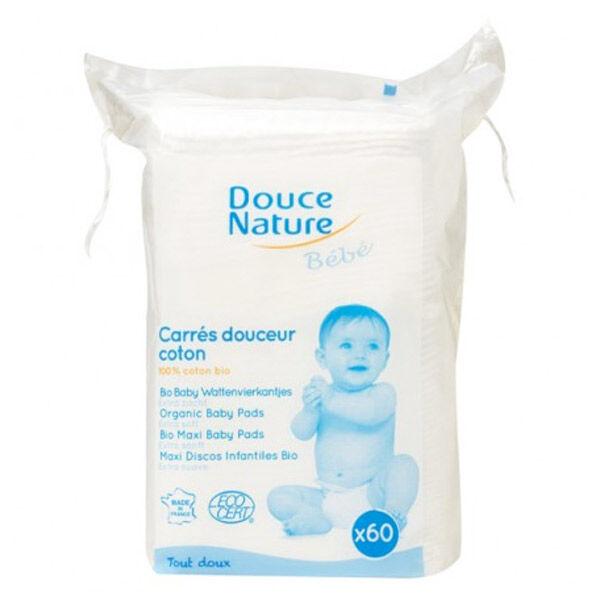 Douce Nature Maxi Carrés Douceur Coton Bio pour Bébé x 60