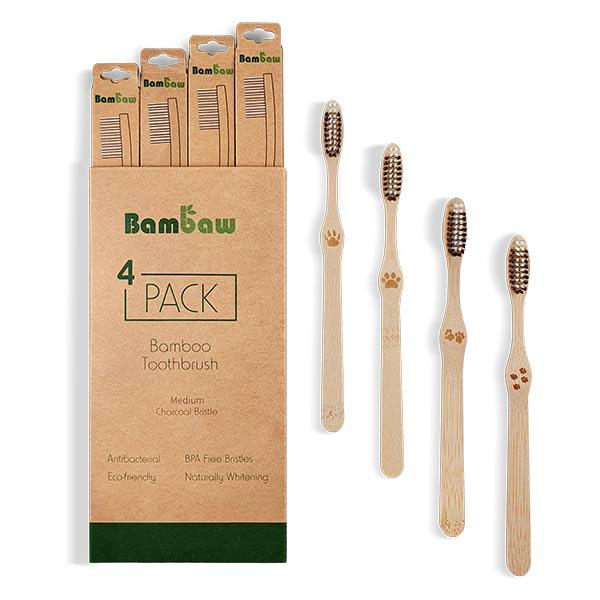 Bambaw Hygiène & Beauté Pack Brosses à Dents en Bambou 4 unités