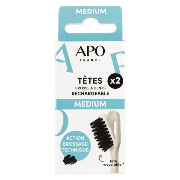 APO Têtes Brosse à Dents Rechargeable Médium 2 unités
