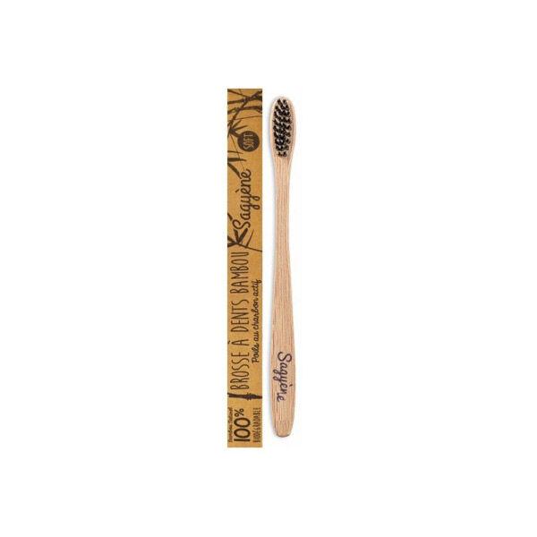 Sagyene Sagyène Brosse à Dents Bambou Adulte Poils au Charbon Actif