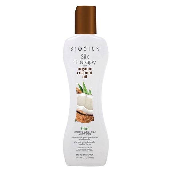 Biosilk Silk Therapy Shampooing Après Shampooing Gel Douche 3 en 1 à l'Huile de Coco 167ml
