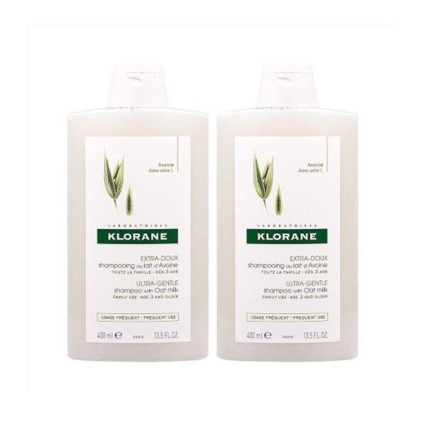 Klorane Shampooing Extra-Doux au Lait d'Avoine Lot de 2 x 400ml