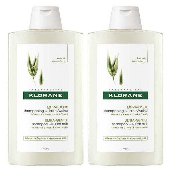 Klorane Lait d'Avoine Shampooing Extra-Doux Lot de 2 x 400ml